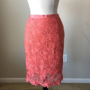 Floral lace gelato coral pencil skirt
